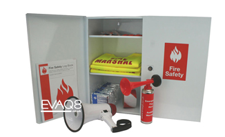 Fire Safety Kit in Wall Cabinet | FireSafetyKits from EVAQ8.co.uk - safe evacuation